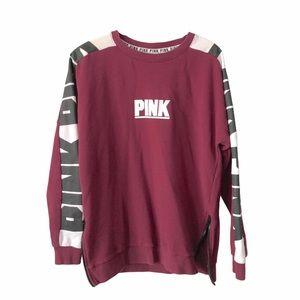 PINK Sweatshirt Zip sides Burgundy Graphic Cozy Sm